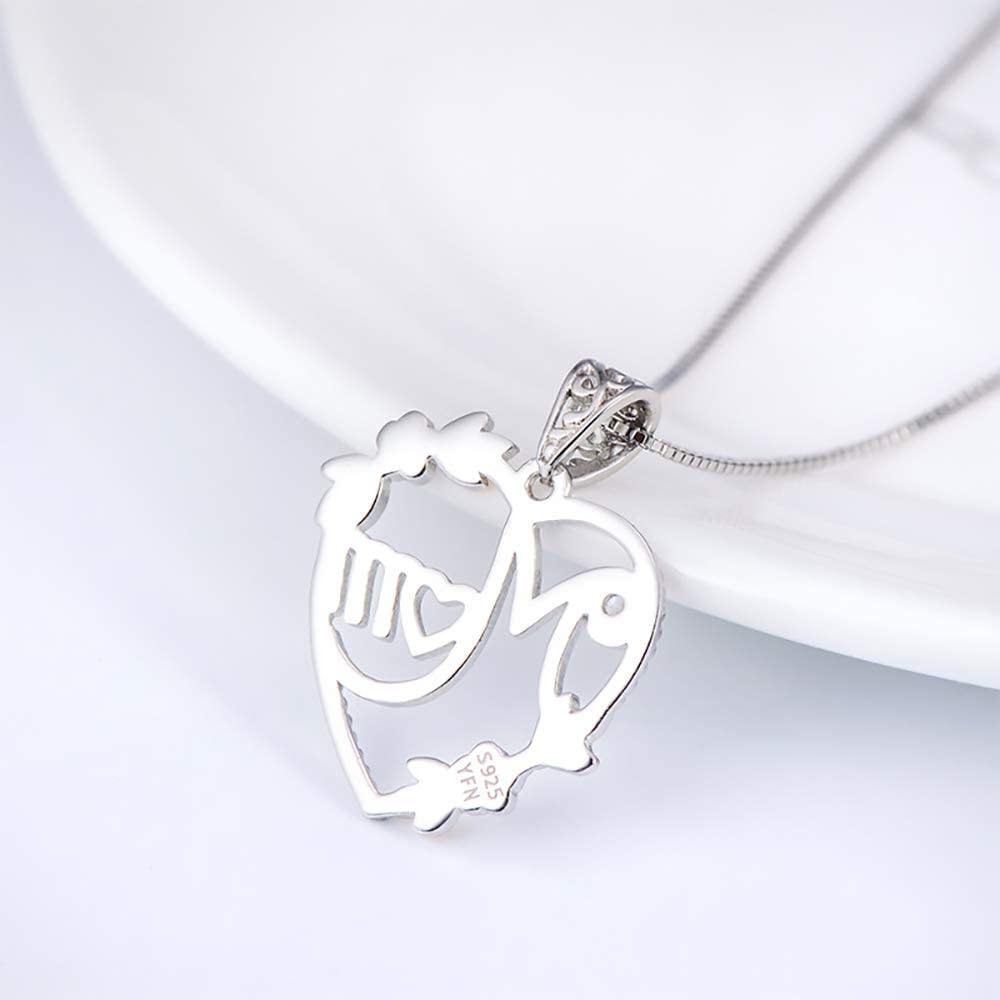 Engraved Love is Eternal Pendant Charm Jewelry for Mom Grandmom Girl Wife Gifts CD97YX02 Sterling Silver Mother and Child Necklace Beautiful Circle Choker with Crystal