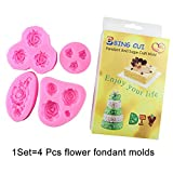 BING CUI Silicone Rose Flower Cake Decorating Mold with Box, Set of 4