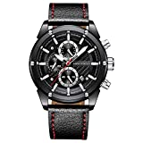 QRMH Faux Leather Watch Dress Watches For Men Sports And Leisure Business Wrist Watch Waterproof Simulation Luminous Chronograph Best Gift,Black