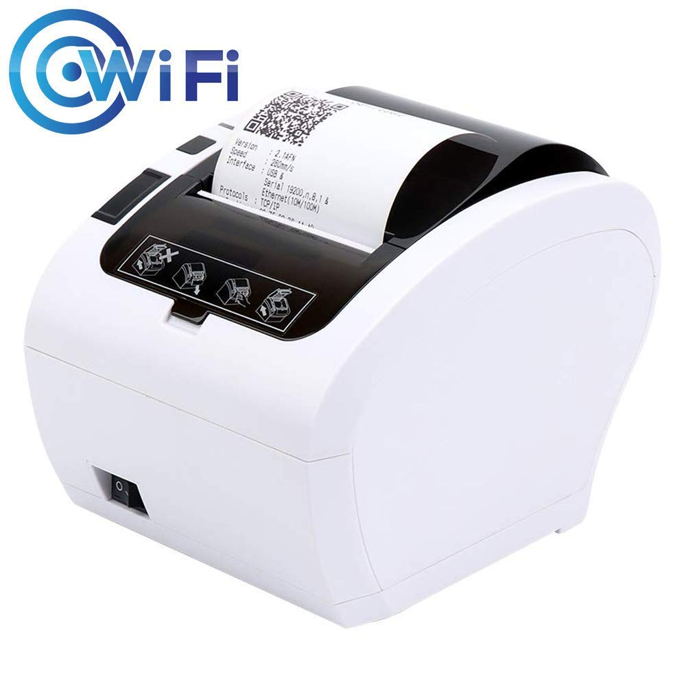 WiFi POS Receipt Printer, MUNBYN White 80mm Direct Thermal Printer with USB Serial Ethernet,Support Android iOS Windows PC 300mm/sec Wireless Printing ESC/POS