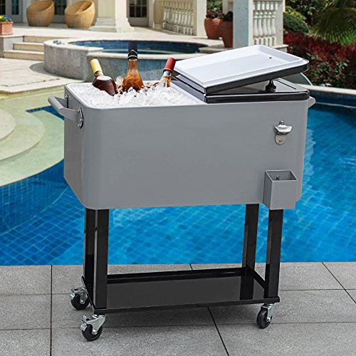 Sundale Outdoor Deluxe 80-Quart Portable Patio Party Drink Cooler Cart with 4 Wheels, Rolling Ice Chest, Bottle Opener and Bottom Tray, Gray ()