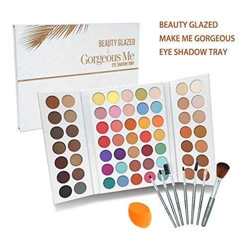 Beauty Glazed Make Up Palettes 63 Shades Eyeshadow Pigmented Matte Colors Long Stay On Soft and Smooth + Powder Sponge Blender + Make Up Brushes Set by Beauty Glazed (Image #2)