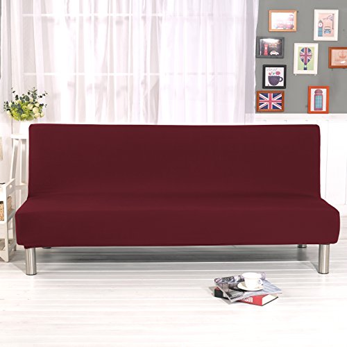 "DIFEN Futon Slipcover Sofa Bed Cover Solid Color Full Folding Elastic Armless 80 x 50 inch, Lightweight Stretch Furniture Protector (Wine red:80"" x 50"")"