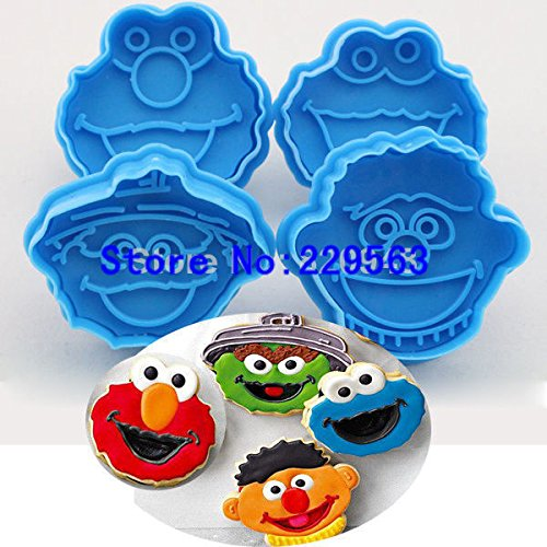 Halloween Mold 1 Set Children Muppet Cookie Cutter Plunger Biscuit Cookie Cake Fondant Elmo Ernie Monster Cake -