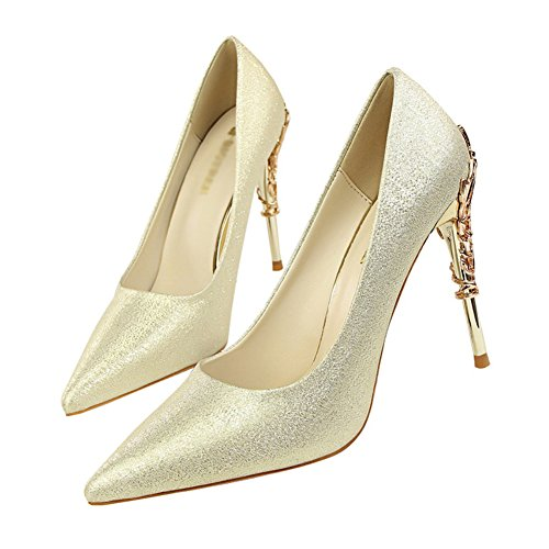 Gold Heel Pointed Stilettos Toe fereshte Pump and Metal Satin High Slip PU Women's Sexy Silk Heels Dress On 188wnxgaq