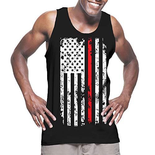 Men's Thin Red Line American Flag Tank Top (Black, Medium)