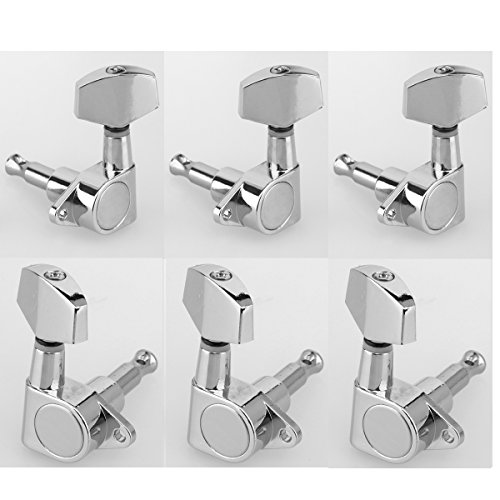 Musiclily 3+3 Epi Taste Guitar Sealed Tuners Tuning Keys Pegs Machine Head Set for Gibson Epiphone Guitar, Big Button Chrome