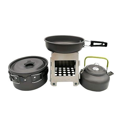Tetera de utensilios de cocina salvaje con estufa de leña Olla de cocción y sartén tetera