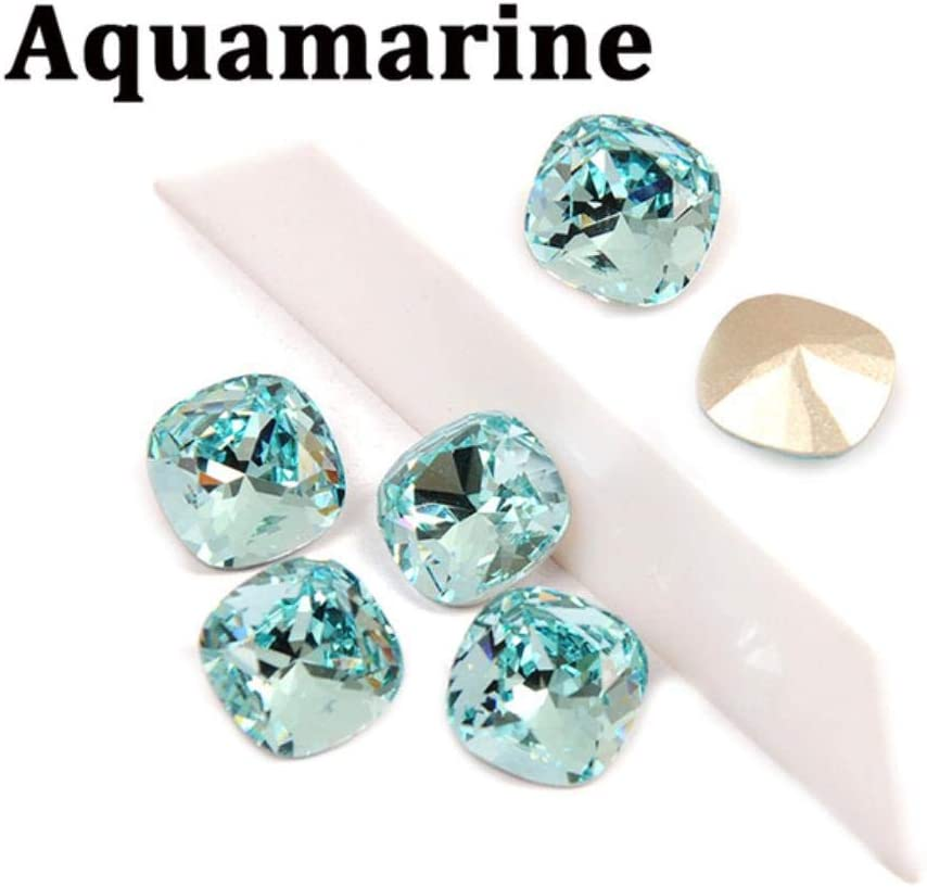 PENVEAT SewingOn Glass Rhinestones Cojín de Corte con Plata/Oro Garra DIY Joyas Ropa Bolsas Makiing Accesorios, Aguamarina, 18mm-4pcs