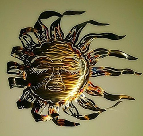 Sun Face Metal Wall Art - Torched Finish (18 inch diameter)