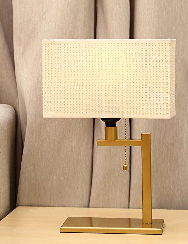 Brass Square Base (Wayking Table Lamp , Modern Matt Brass Finish Metal Frame Bedside Lamp with Beige and Gold Fabric Shade)