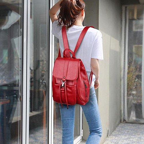 Y&F Frau Doppelpack Schultertaschen Tragbar Rucksack rot