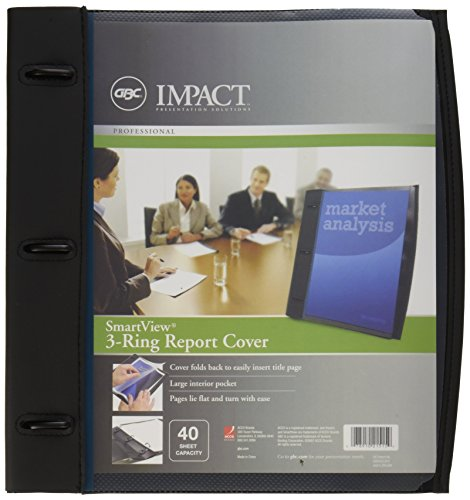 GBC Smart-View 3-Ring Report Cover, 11.5 x 11 Inches, 40 Sheet Capacity, Black (W21515B) Clear View Presentation Covers