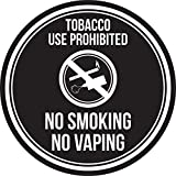 iCandy Products Inc Tobacco Use Prohibited No Smoking No Vaping Black and White Safety Warning Round Sign - 12 Inch, Plastic