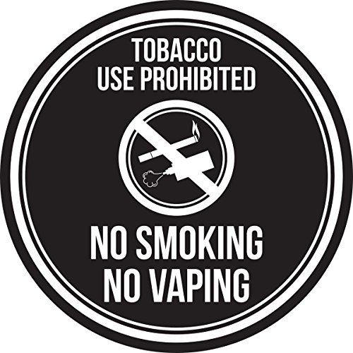 iCandy Products Inc Tobacco Use Prohibited No Smoking No Vaping Black and White Safety Warning Round Sign - 12 Inch, Plastic by iCandy Products Inc (Image #4)
