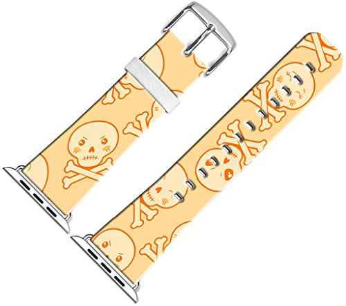 Band for Iwatch Bands 42mm,42mm Leather Strap Wrist Band Replacement W Silver Metal Clasp Compatible for Apple Watch Series 1 Series 2 Series 3 42mm - Halloween Skeleton Beautiful Color Expression -