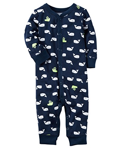 Carter's Baby Boys' Cotton Snap-Up Footless Sleep & Play (Newborn, Whales)