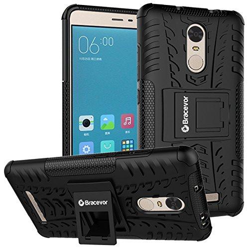 Bracevor Shockproof Xiaomi Redmi Note 3 Hybrid Kickstand Back Case Defender Cover – Black