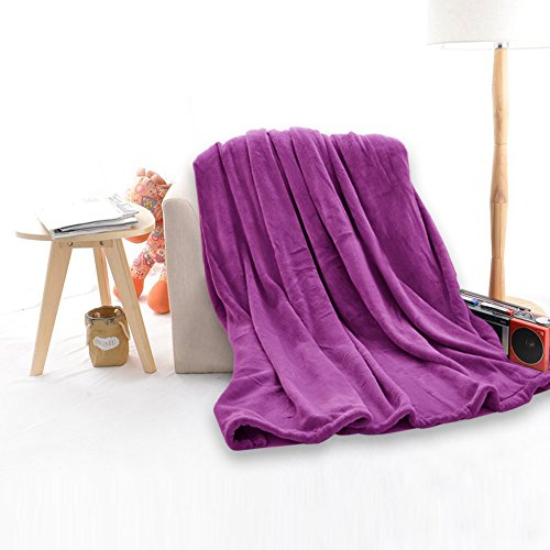 Cozy Blankets, Super Soft Decorative Bed Blanket for Adults, All Seasons Plush TV Blanket, Cozy Reversible Fuzzy Couch Blanket, Best Gift for Women by Somewhere-Queen, Purple