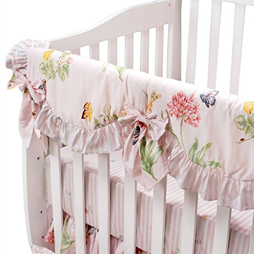 Brandream Crib Rail Cover Long Rail Guard Baby Girl Teething Cover - Butterfly Bedding Floral Nursery/Baby Bedding Pink 100% Cotton Crib Bedding, Scalloped Teething Guard with Crib Bows by Brandream