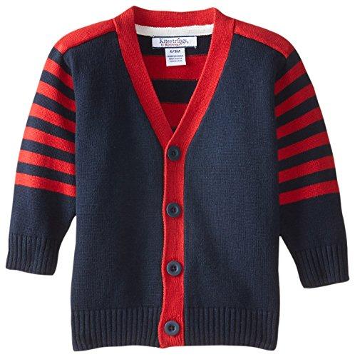 Hartstrings Baby Boys V-Neck Cardigan Sweater, Navy, 12 Months (Hartstrings Cotton Cardigan)
