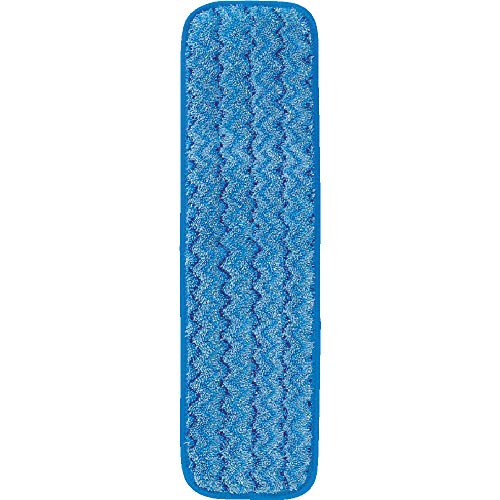 Rubbermaid Commercial Products HYGEN Microfiber Damp Room Mop Pad, 18-inch, Blue (FGQ41000BL00) ()