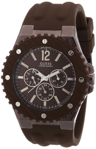 Guess Men's W11619G3 Watch XL with Brown Dial Analogue Display and Overdrive Multifunction Brown Silicone Strap