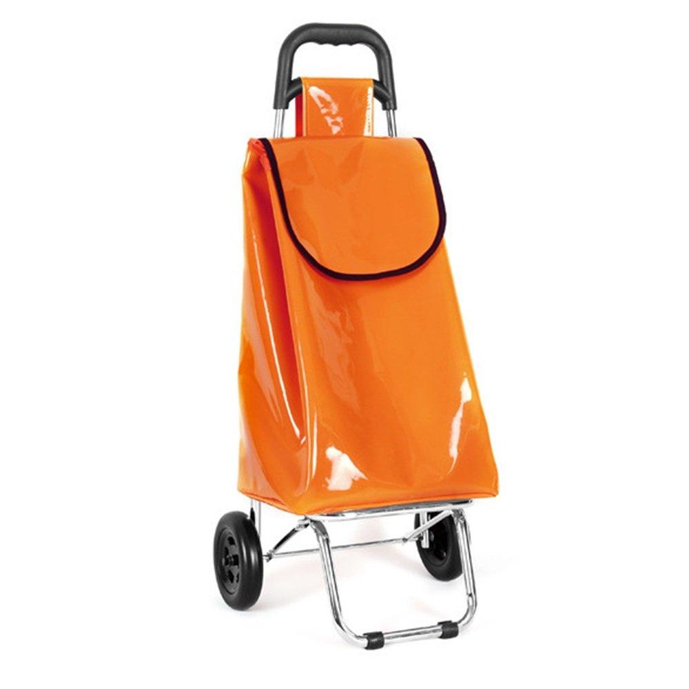ZR-ショッピングカート デイリーウォータープルーフ軽量折り畳み式ショッピングトロリーカートバッグ(ホイール、オレンジ、ダークブルー) -ショッピングと持ち運び (色 : Orange) B07FLWKFZZ Orange Orange