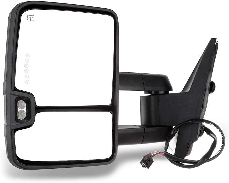 FEIPARTS Tow Mirror Fit for 2007-2014 Chevy GMC Rearview Mirrors with Power Adjusted Heated Turn Signal Light Lens with LED Light Light Left and Right Side