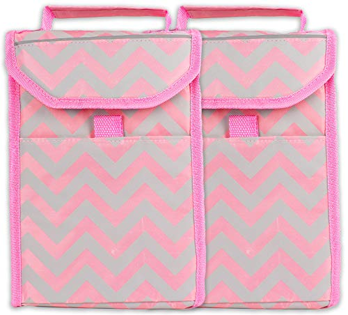ed Insulated Lunch Kit Cooler Tote Bag Pink Chevron Striped On-The-Go Loncheras Lunchbag (2 Pack) ()