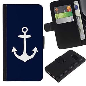 LASTONE PHONE CASE / Lujo Billetera de Cuero Caso del tirón Titular de la tarjeta Flip Carcasa Funda para Samsung Galaxy S6 SM-G920 / Blue Anchor Seaman Sailor Minimalist