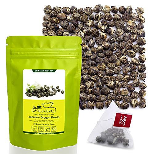 30 Sachets Imperial Jasmine Dragon Pearls Tea- 100% Pure Fujian Jasmine Tea-Jasmine Green Tea For Relax | Calming | Stress Relief | Caffeine Low Loose Leaf Jasmine Flavor Green Tea Gift Bag