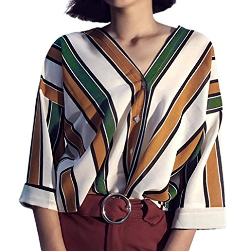 JOFOW Women's Summer Casual Stripe V Neck Button Blouse Loose Shirt Top (S,Yellow) from JOFOW