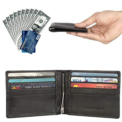 Men's RFID Blocking Genuine Leather Slim Wallet Front Pocket Wallet With Money Clip ()