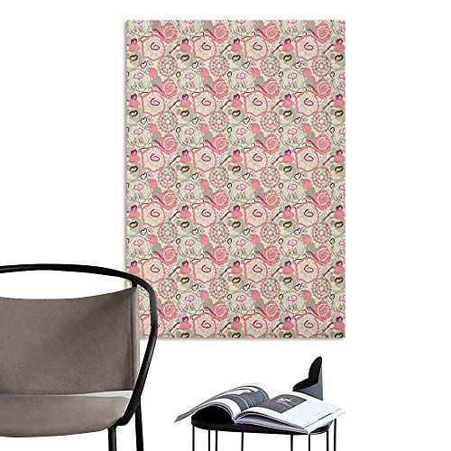 (Camerofn Art Decor 3D Wall Mural Wallpaper Stickers Floral Pastel Colored Flowers Abstract Swirls and Hearts Romantic Pattern Pale Pink Beige Fuchsia Fashion Stickers for Wall W20 x H28)