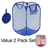 2 Pack Pop up Laundry Hamper Basket Great for Dorm Rooms, Bathrooms, Bedrooms Travel on the Go