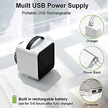 Lelekey Portable Air Conditioner Fan,USB Rechargeable Personal Mini Desktop Evaporative Cooler Humidifier Purifier with LED Light 3 Speed for Home,Office,Dorm,Camping Tent