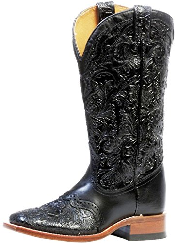 - Boulet Women's Hand Tooled Ranger Cowgirl Boot Square Toe Black 7 W US