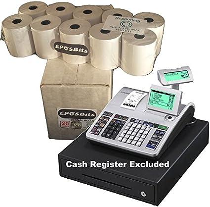 eposbits® marca rollos para que se ajuste a Casio se-s400 SES400 SES se s S400 400 caja registradora – 20 rollos: Amazon.es: Oficina y papelería