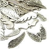 Paquet 30 Grams Argent Antique Tibétain Mélange Aléatoire Breloques Ailes - (HA07035) - Charming Beads