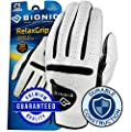 New Improved 2X Long Lasting Bionic RelaxGrip Golf Glove with Patented Double-Row Finger Grip System