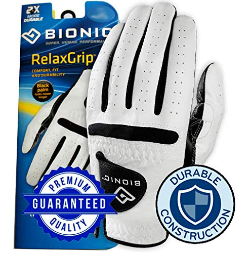 (New Improved 2X Long Lasting Bionic RelaxGrip Golf Glove with Patented Double-Row Finger Grip System (Men's Large, Worn on Left Hand))
