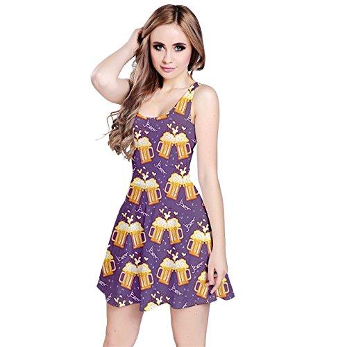 Jogja Women's Beer Mugs Pattern Sleeveless Dress, Purple - L