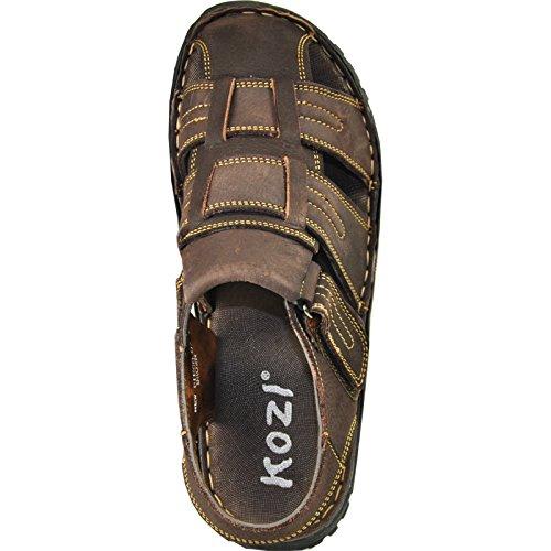 Kozi Män Läder Sandal Nya Diego-07 Med Justerbara Strappy Detaljer Brun 12m