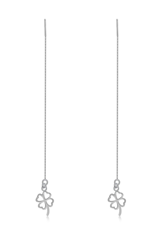 Thai Love You Clover Ear Wire Earrings earings Dangler Eardrop Women Girls Personality Elegant Woman s925 Sterling Silver Jewelry Earrings Unique Gift