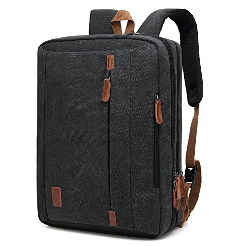 CoolBELL 17.3 Inches Convertible Laptop Messenger Bag Shoulder Bag Canvas Backpack Oxford Cloth Multi-Functional Briefcase For Laptop/Macbook/Tablet (Canvas Black) - Black Oxford Apples