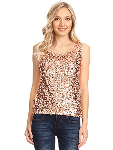 Anna-Kaci Womens Sequin Metallic Sparkly Cocktail Party Sleeveless Tank Top, Rose Gold, Large