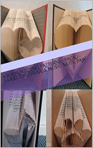 4 Book Folding Patterns - Pack 1 - Heart, Two Hearts, Music Note, Paw