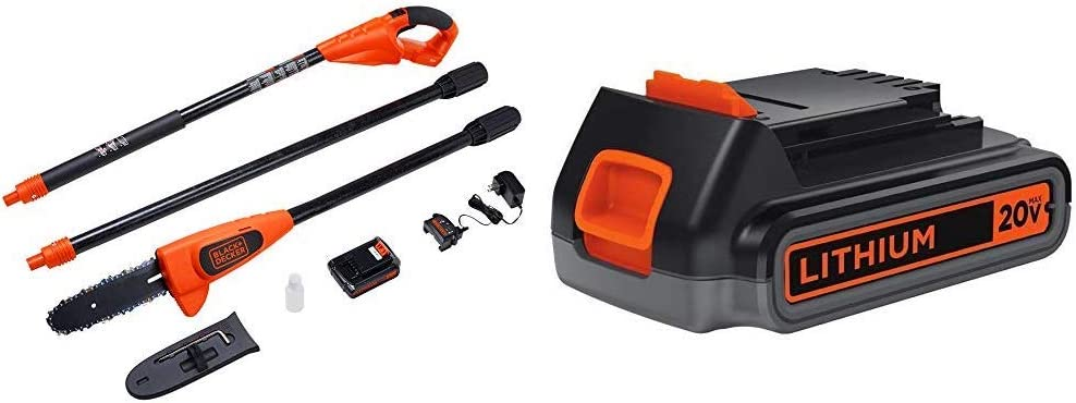 BLACK+DECKER 20V MAX Pole Saw with Extra Lithium Battery 2.0 Amp Hour (LPP120 & LBXR2020-OPE)