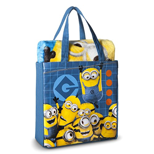 Despicable Me Minion Throw Blanket Silk Touch Canvas Tote Bag 2 pieces Set -